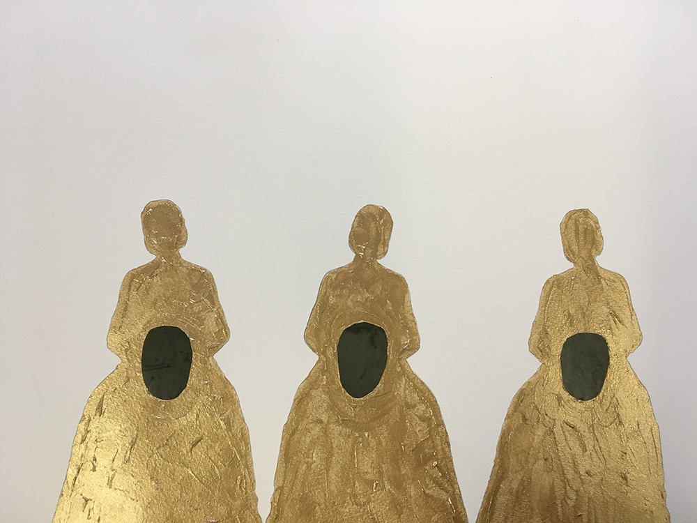 Three female silhouettes in gold with a black void in their middles