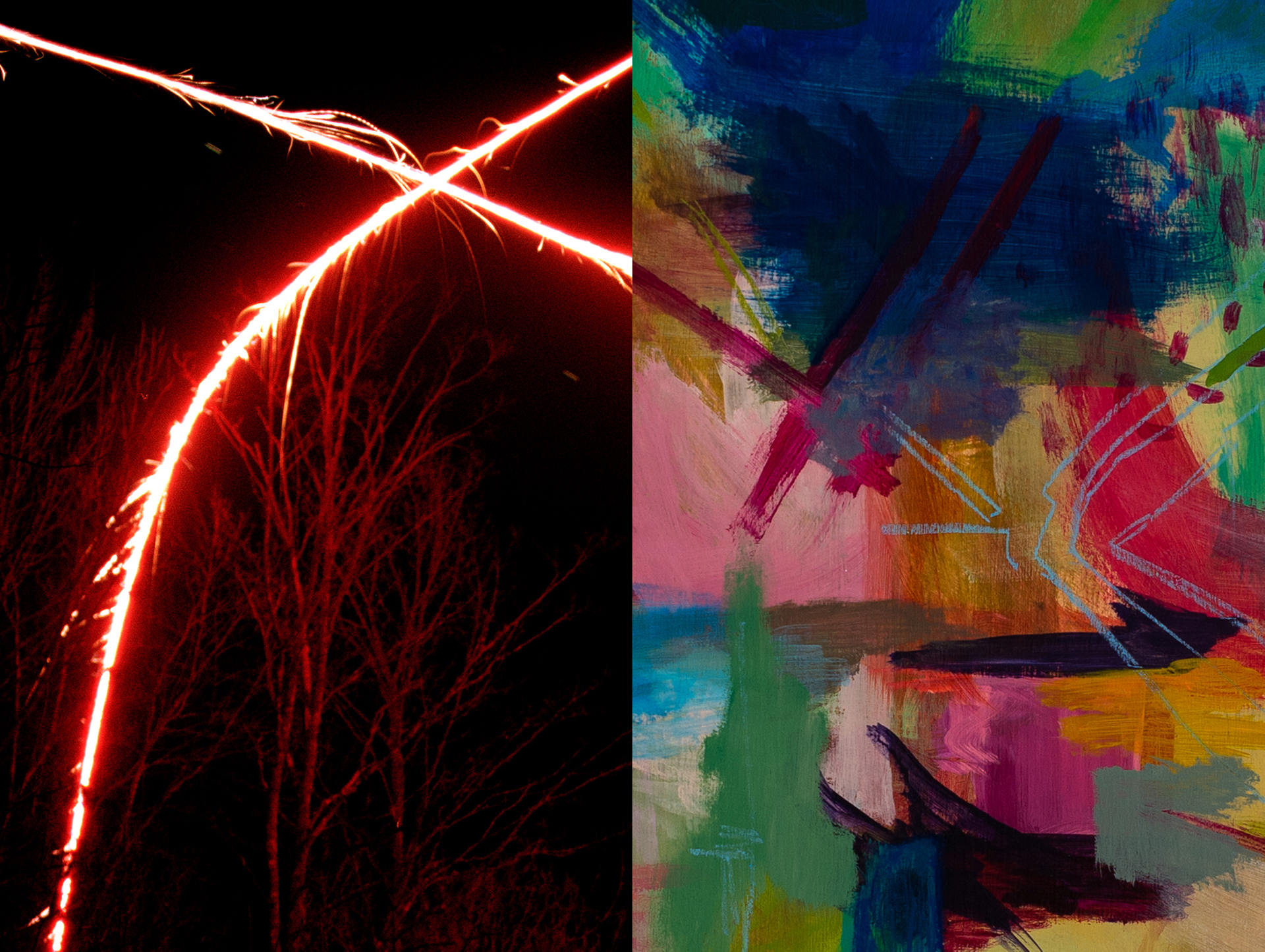 Left: Harlan Crichton (MFA Photography), every fall she killlsa deer with her car (detail), 2019, archival inkjet print, 24x30 in. Right: Tara Hayes (MFA 2D), T Square, 2019, acrylic and pastel on canvas, 24x24 in.