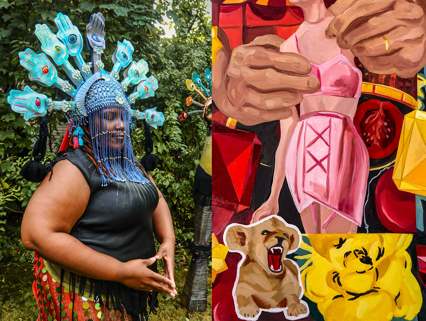"(Left): Christine Hajjar, MFA'20, Archemedes Embodiment, performance still (detail) featuring Gloria Hood, 2019, upcycled metals, glass, plastics, and textiles, 76 x 58 x 32"" (Right): Cynthia Zeman, MFA'20, Baby Lion (detail), 2019, oils, 48 x 36"""