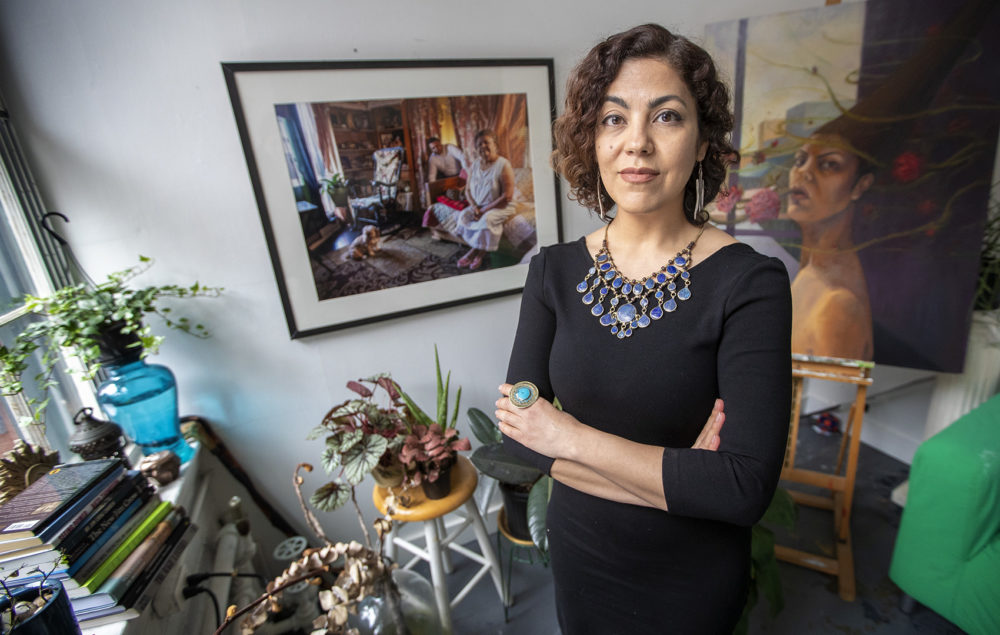 Artist and documentary filmmaker Rashin Fahandej in her Boston Center for the Arts studio in the South End. (Jesse Costa/WBUR)