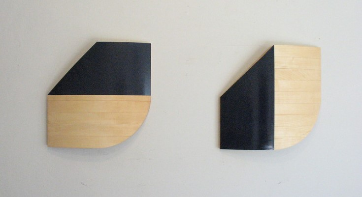 Two Sculptures made of basswood and black enamel