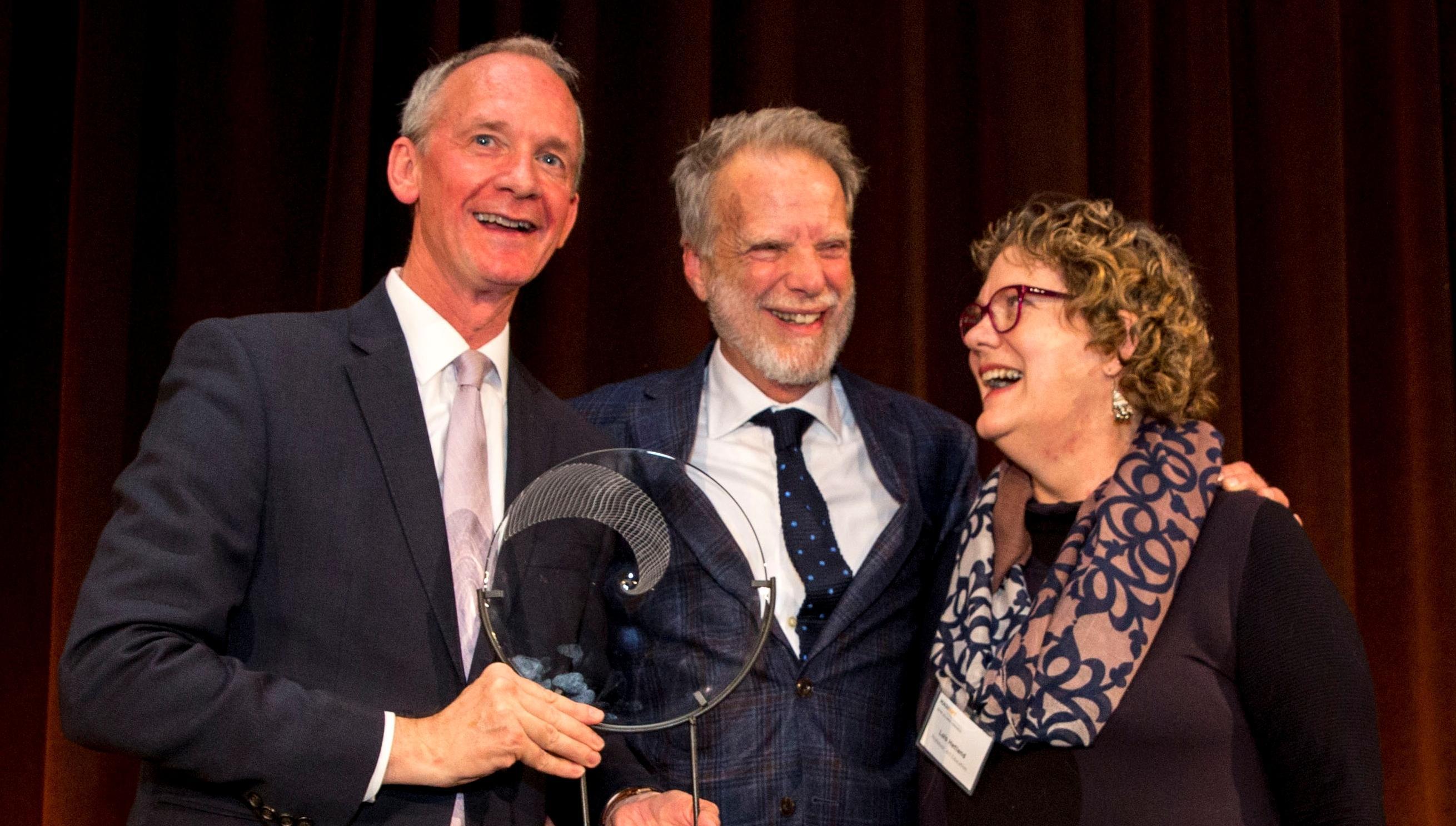 President David Nelson, Alumnus John Crowe, Professor Lois Hetland
