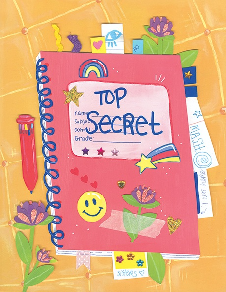 "Artwork by Illustration alumna Abby Ouellette of a ""Top Secret"" notebook"