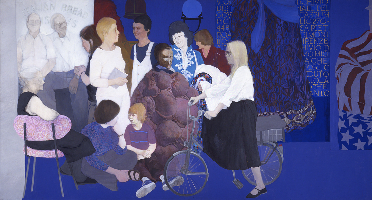 May Stevens: Soho Women Artists, 1977-78, acrylic on canvas, 78 by 144 inches.