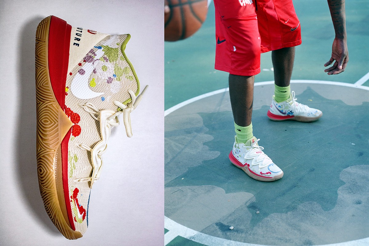 Pat Peltier's signature sneaker design for Kyle Irving, the Bandulu x Nike Kyrie 5s