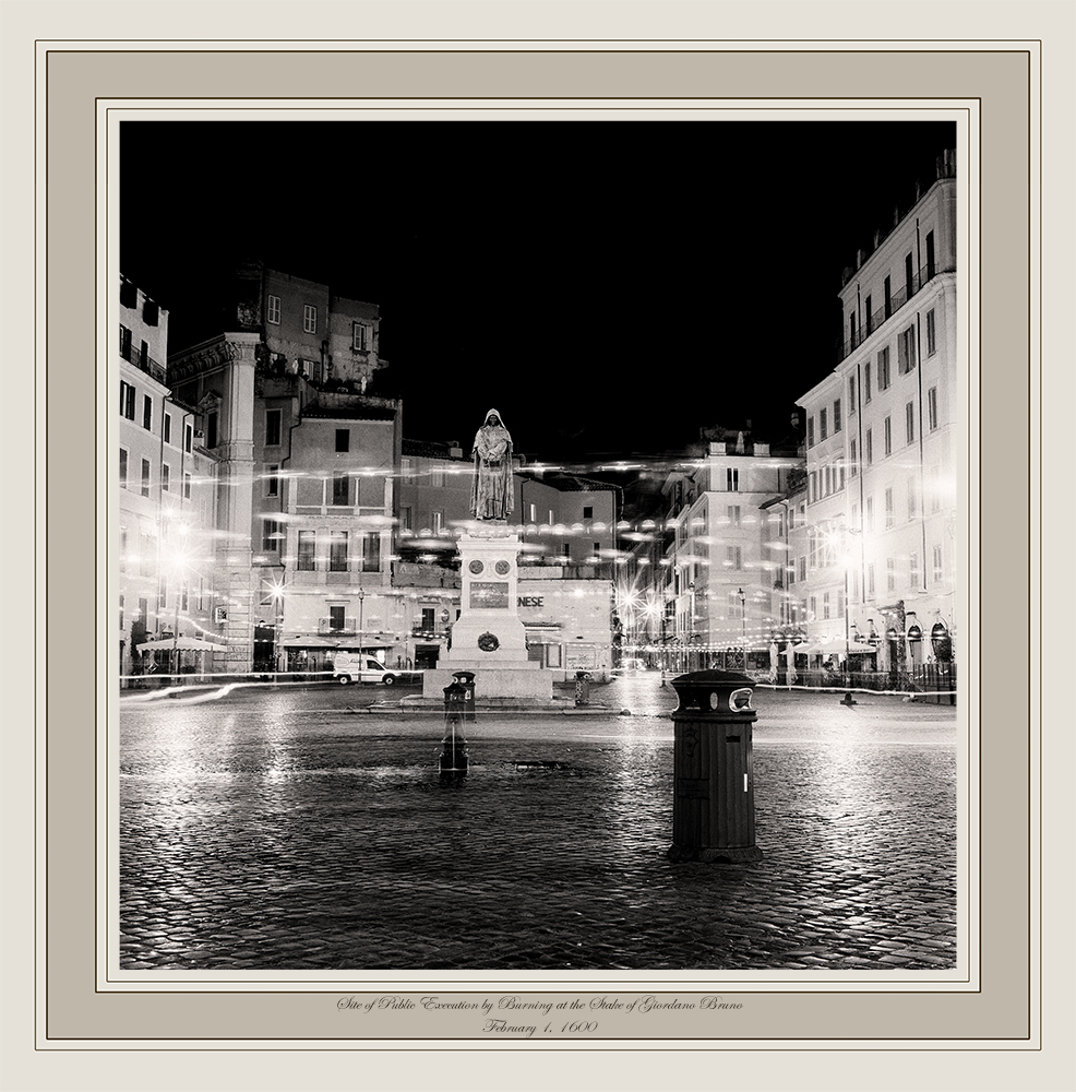 Lana Z. Caplan, Site of Public Execution by Burning at the Stake of Giordano Bruno, February 17, 1600 (Campo de'Fiori, Rome)