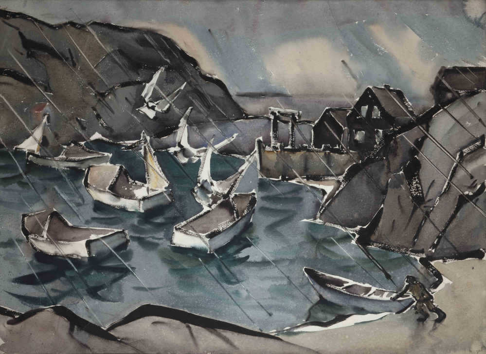 """Sou'westerly Monhegan Harbor,"" by James Fitzgerald"