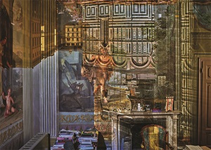Photograph of a room being used as a camera obscura with a projected upside image of the Florence Duomo on the wall