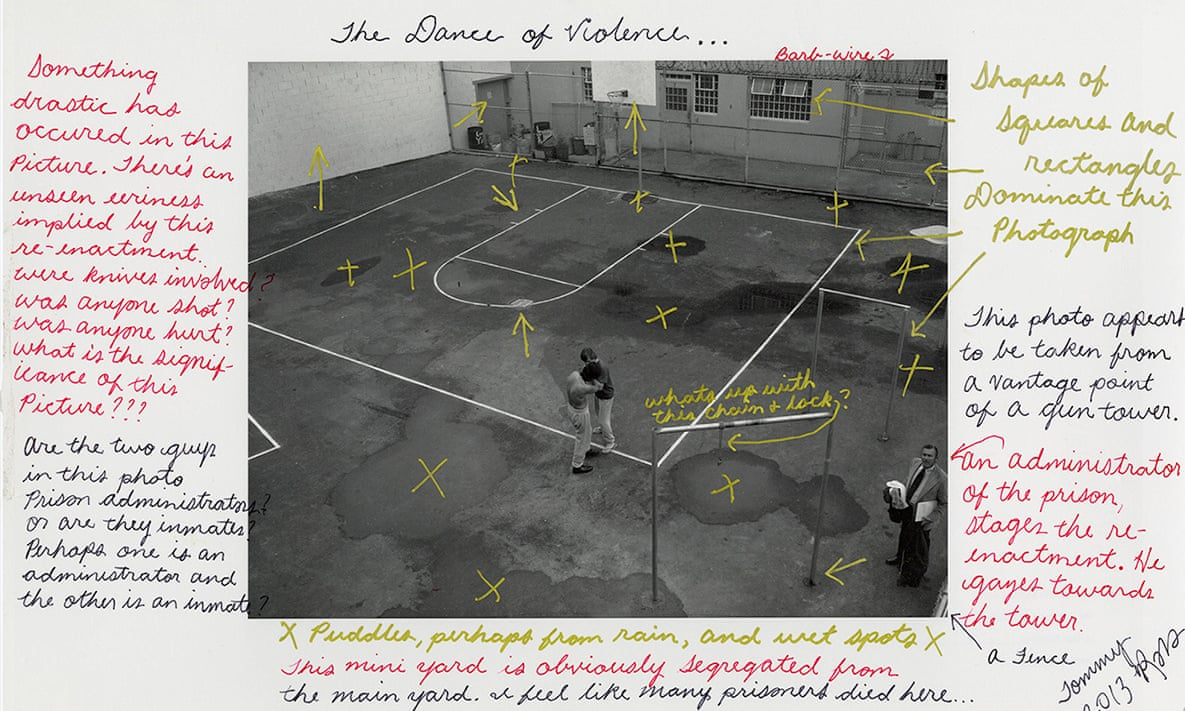 A basketball court is stained with blood in a 1975 image. 'I feel like many prisoners died here,' noted Tommy Shakur Ross, who is incarcerated.