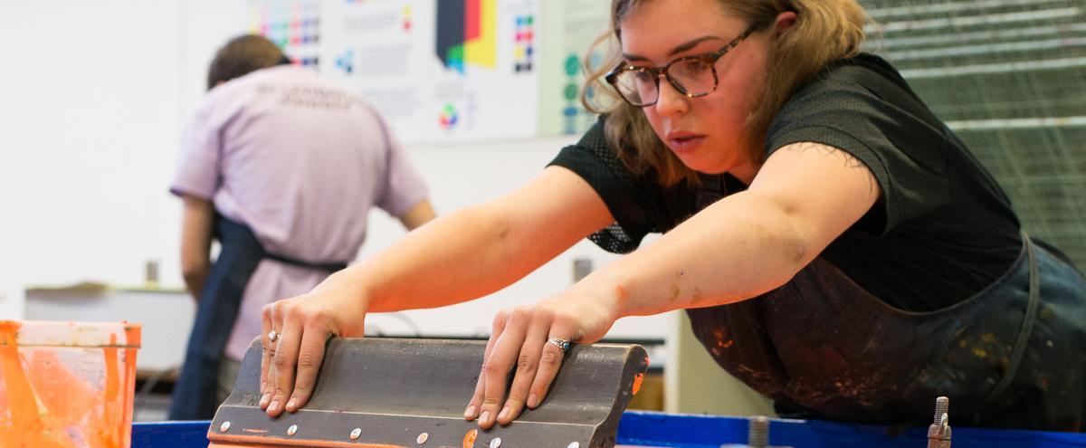 Printmaking student