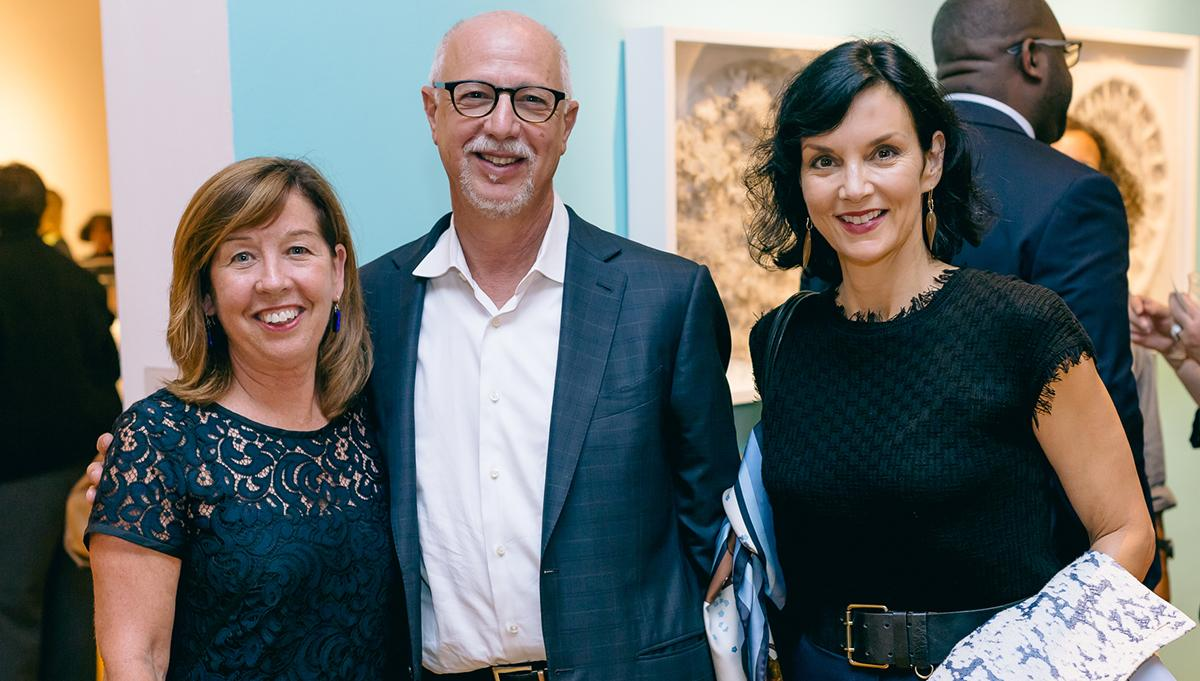 Marjorie O'Malley, Frank Ingari and Michelle Ingari at the Encircling the World Exhibition in 2017