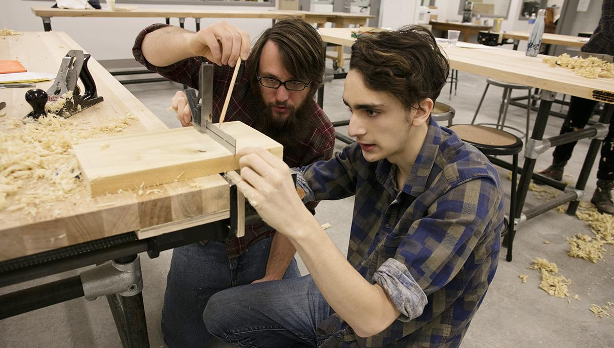 Students in woodshop