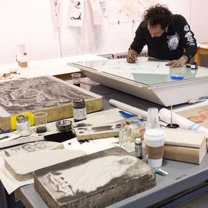 Dr. Lakra in MassArt's Printshop