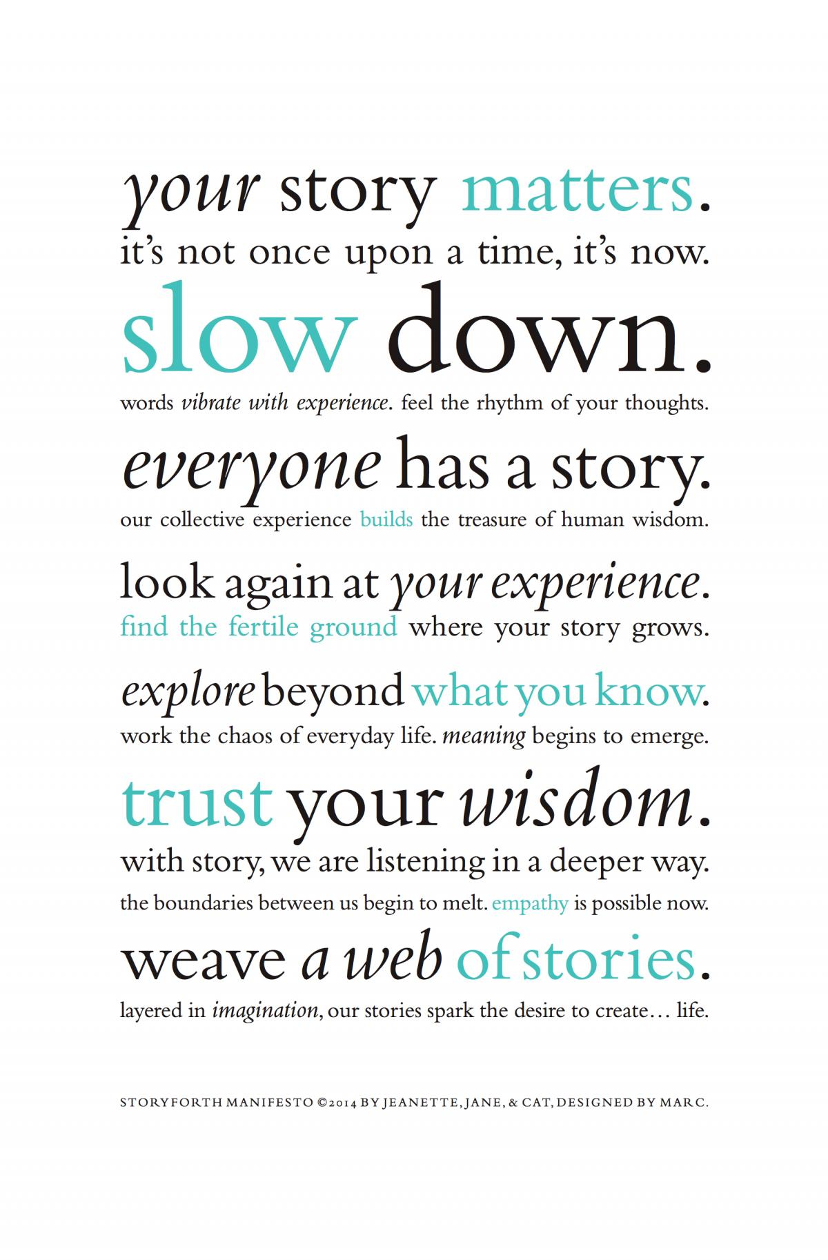 Storyforth Manifesto