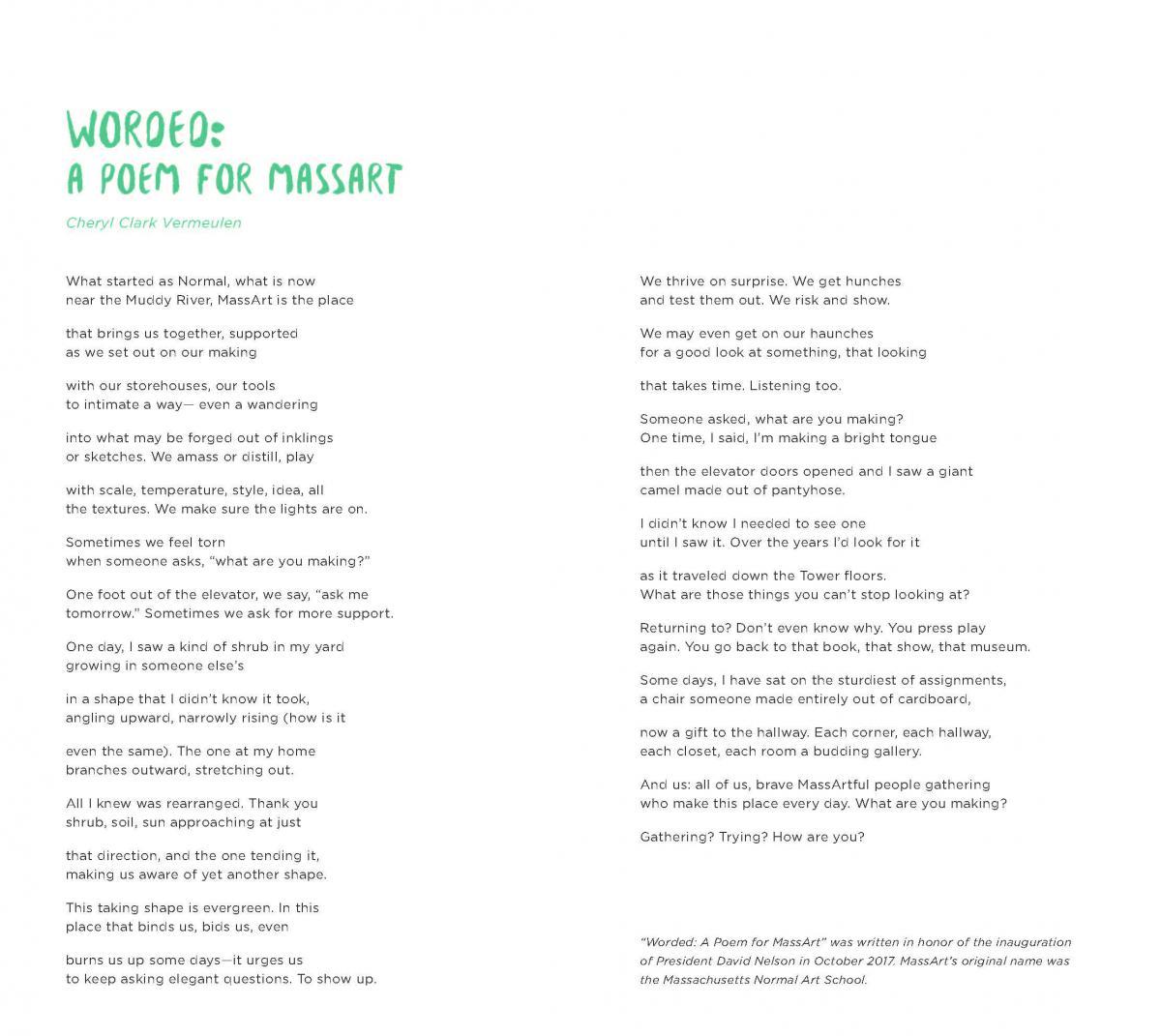 Worded: A Poem for MassArt