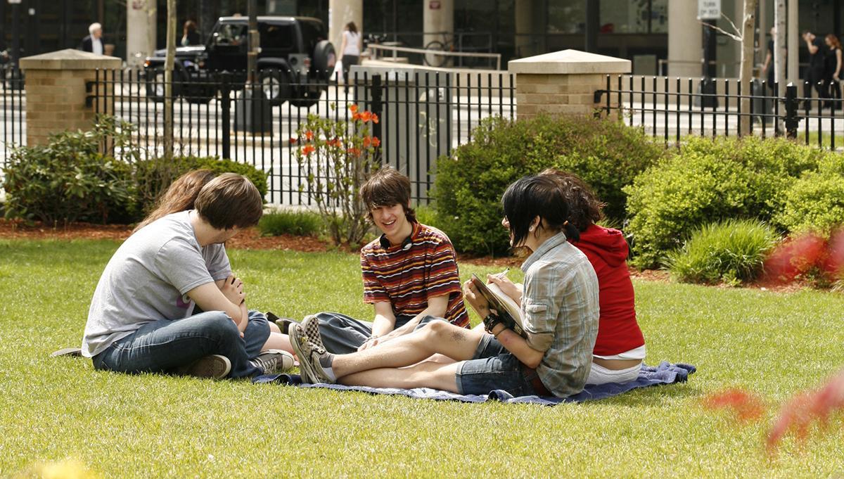 Students outside MassArt