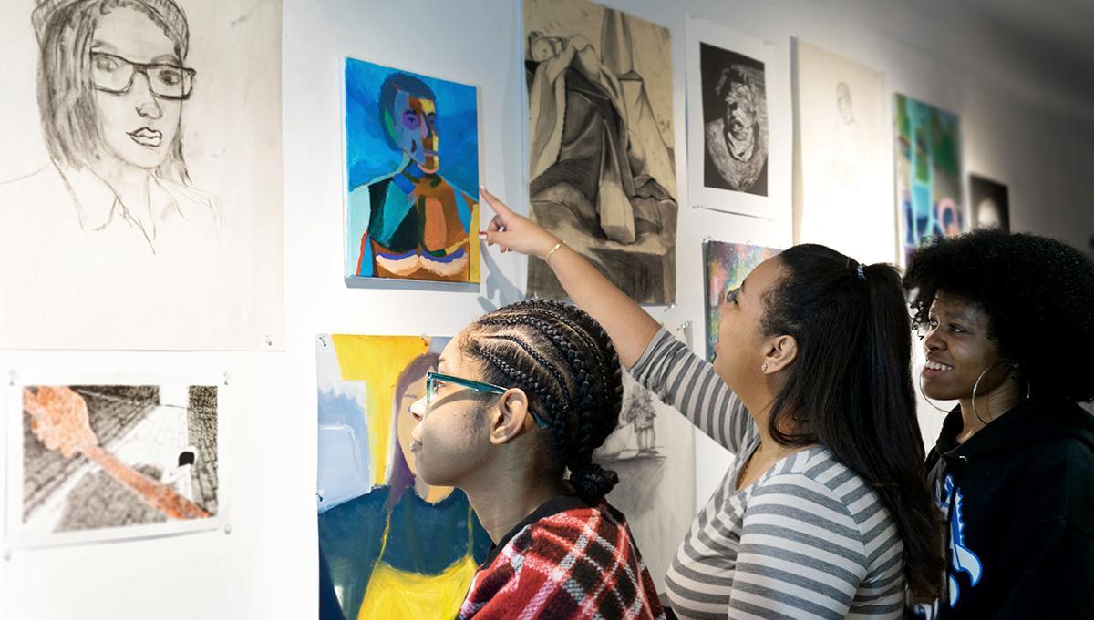 Students at critique