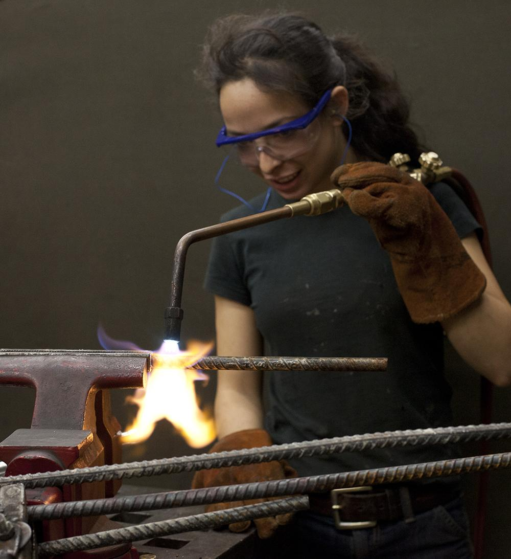 Student in foundry