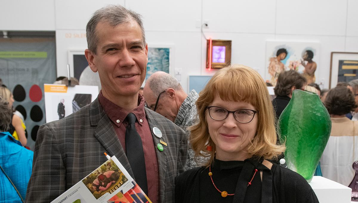 Ian Kennelly and wife at the 30th Anniversary MassArt Auction