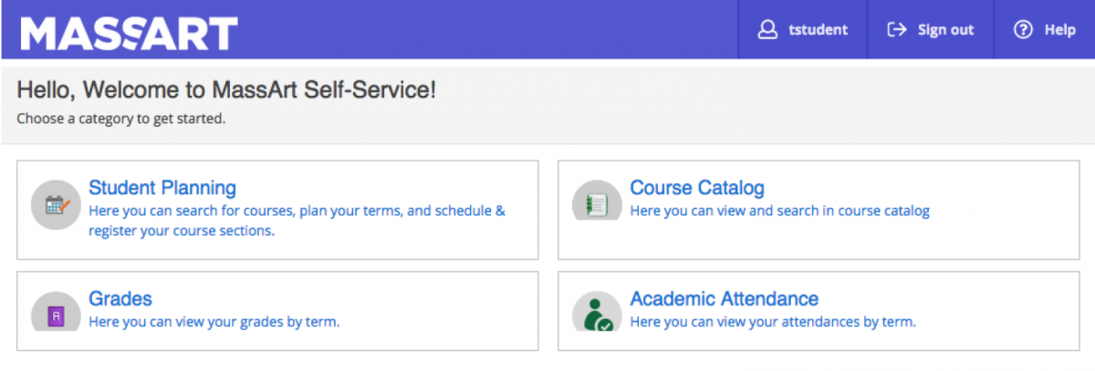 Screenshot of MassArt Self Service log in