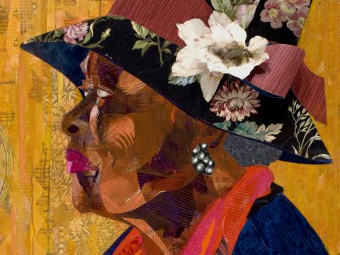 "Ekua Holmes. ""Sufficient Grace,"" 2009. Collage on canvas. Courtesy of the artist."