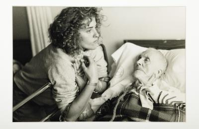 """Nan Goldin, """"Chrissy with her 100-year-old Grandmother, Provincetown,"""" 1977. (Courtesy Matthew Marks Gallery, New York)"""