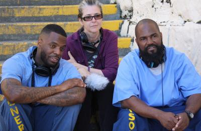 """Earlonne Woods, a former inmate at San Quentin; Nigel Poor, an artist and volunteer at the prison; and Rahsaan """"New York"""" Thomas"""