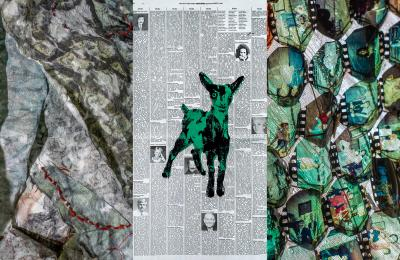 "From left to right: Melanie dai Medeiros, detail from ""It Burns"" (2019) 