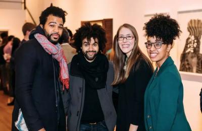 "Taha Clayton, Nate Lewis, Darci Hanna, and Ja'Hari Ortega at the opening of ""Legacy of the Cool: A Tribute to Barkley L. Hendricks"" at MassArt."