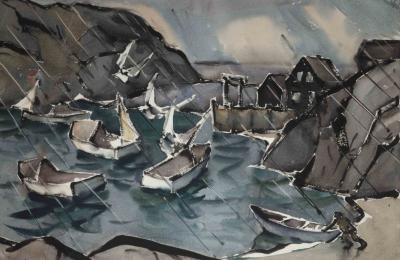 """Sou'westerly Monhegan Harbor,"" by James Fitzgerald"