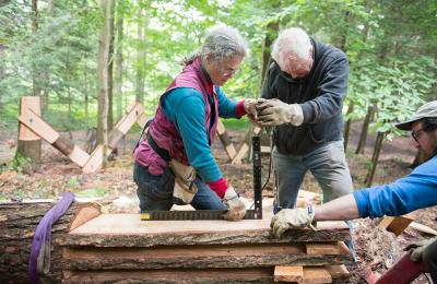 Professors Rick and Laura brown work on a sculpture in Chesterwood, featured in Artdaily