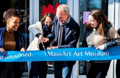 MassArt Art Museum ribbon cutting by Julian Perez