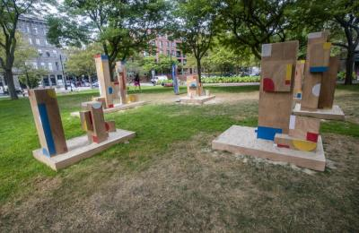 The Shape of Play, a new public art installation by artist Sari Carel with support from Now + There, in Christopher Columbus Waterfront Park in the North End. (Jesse Costa/WBUR)