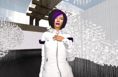 """Skawennati, Epiphany (featuring a digital representation of Cloudscape, an installation by Hannah Claus), from TimeTraveller™ 2008-13. Nine-episode machinima series. On view in """"Open World: Video Games & Contemporary Art."""""""