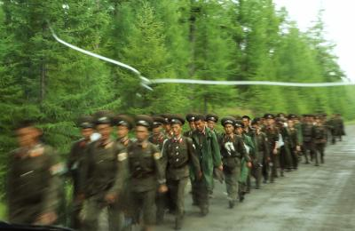 "Still of marching soldiers from ""Songs from the North"""