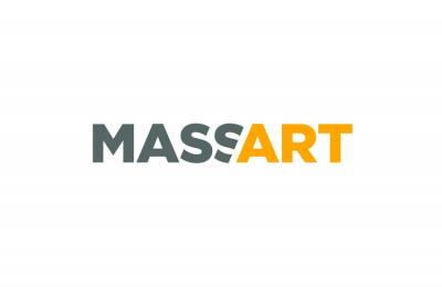 Gray and yellow MassArt logo