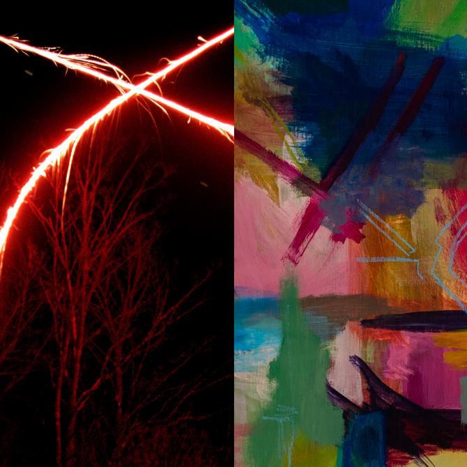 Left: Harlan Crichton (MFA Photography),  every fall she killls a deer with her car (detail), 2019, archival inkjet print, 24x30 in. Right: Tara Hayes (MFA 2D),  T Square, 2019, acrylic and pastel on canvas, 24x24 in.