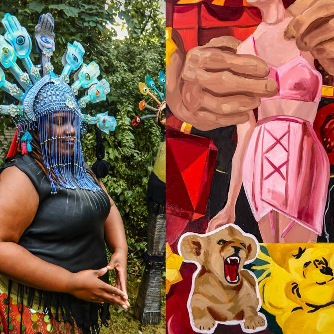 "(Left): Christine Hajjar, MFA'20, Archemedes Embodiment, performance still (detail) featuring Gloria Hood, 2019, upcycled metals, glass, plastics, and textiles, 76 x 58 x 32"" (Right): Cynthia Zeman, MFA'20, Baby Lion (detail), 2019, oils, 48 x 36"""